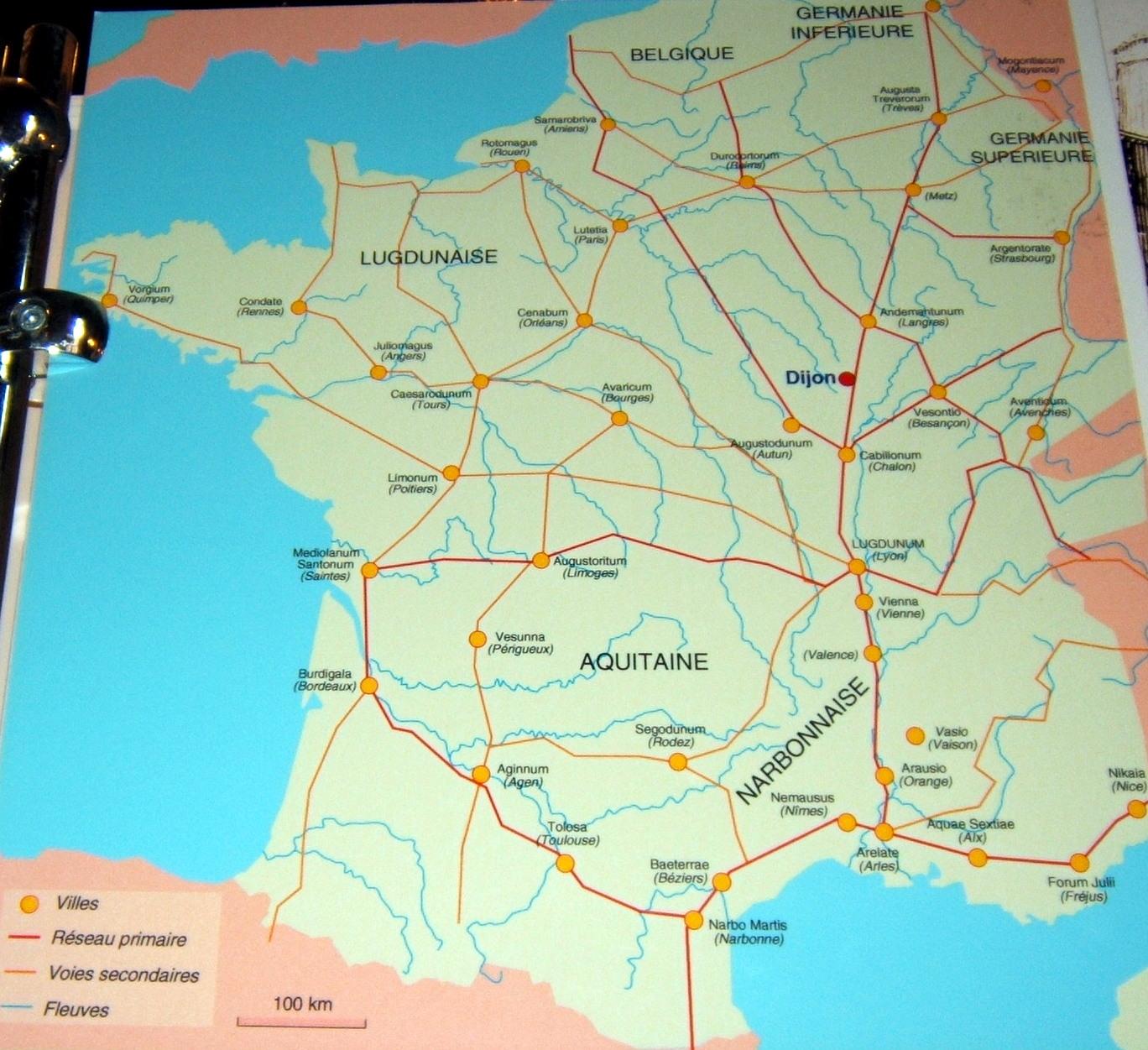 voie romaine en france carte